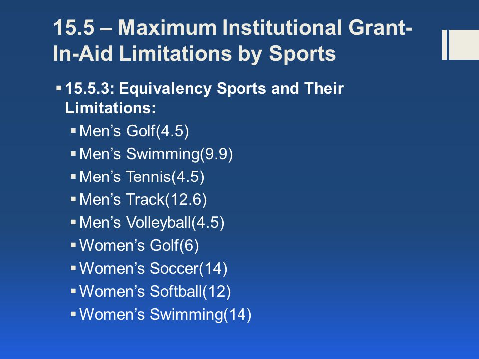 15.5 – Maximum Institutional Grant-In-Aid Limitations by Sports