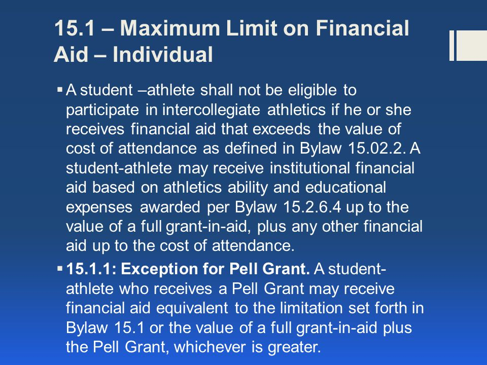 15.1 – Maximum Limit on Financial Aid – Individual