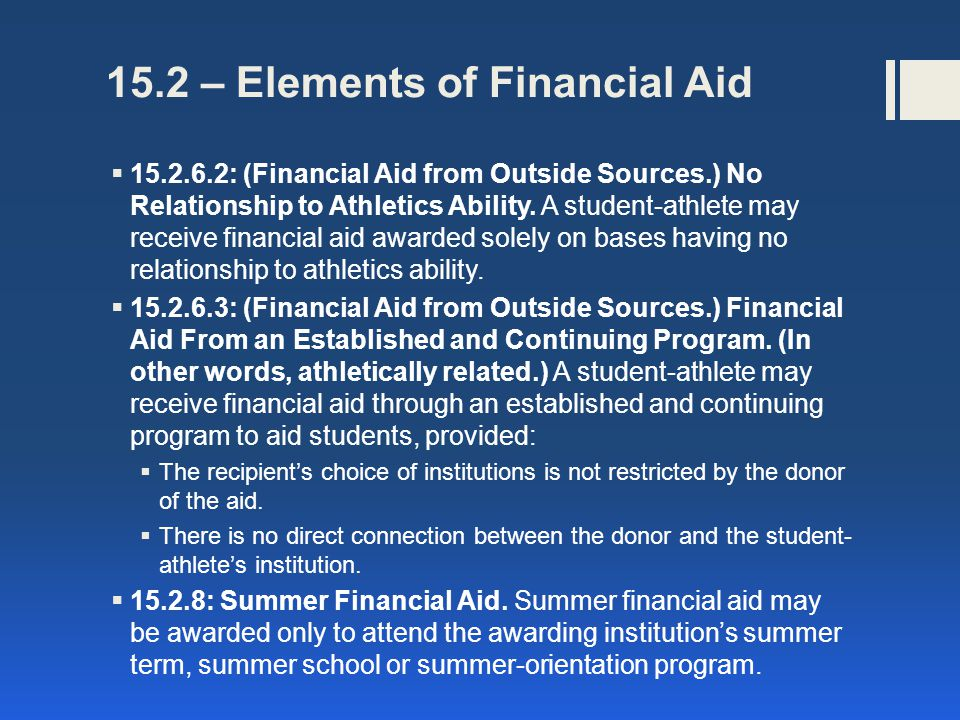 15.2 – Elements of Financial Aid