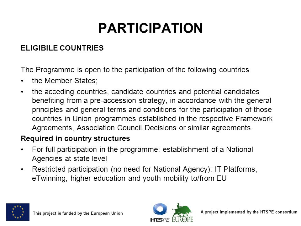 PARTICIPATION ELIGIBILE COUNTRIES