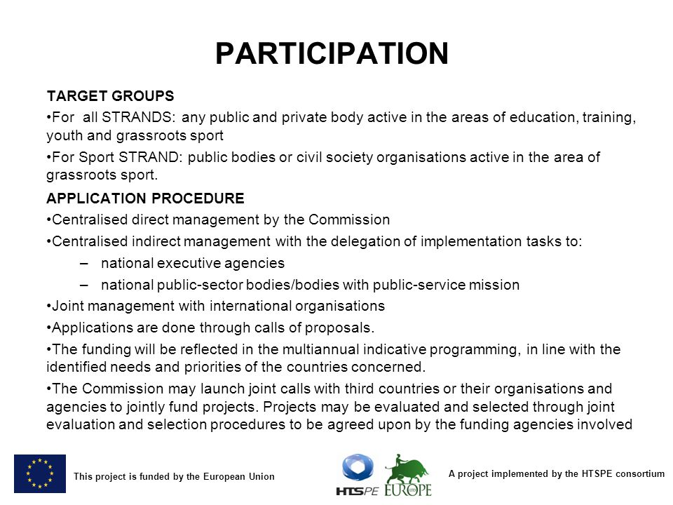 PARTICIPATION TARGET GROUPS