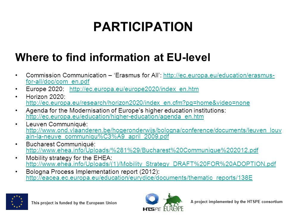 PARTICIPATION Where to find information at EU-level