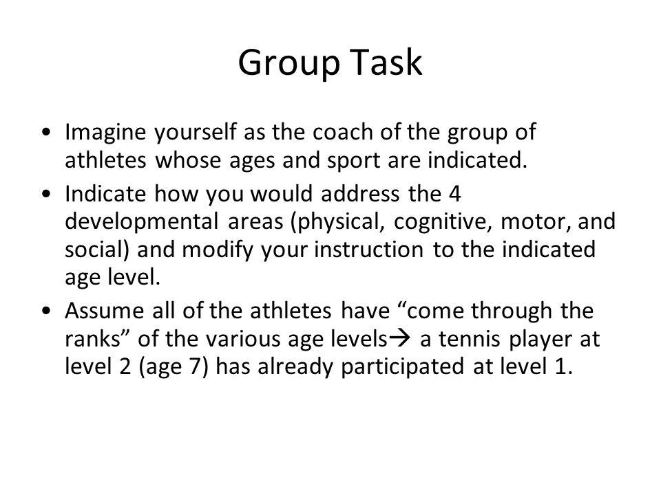 Group Task Imagine yourself as the coach of the group of athletes whose ages and sport are indicated.