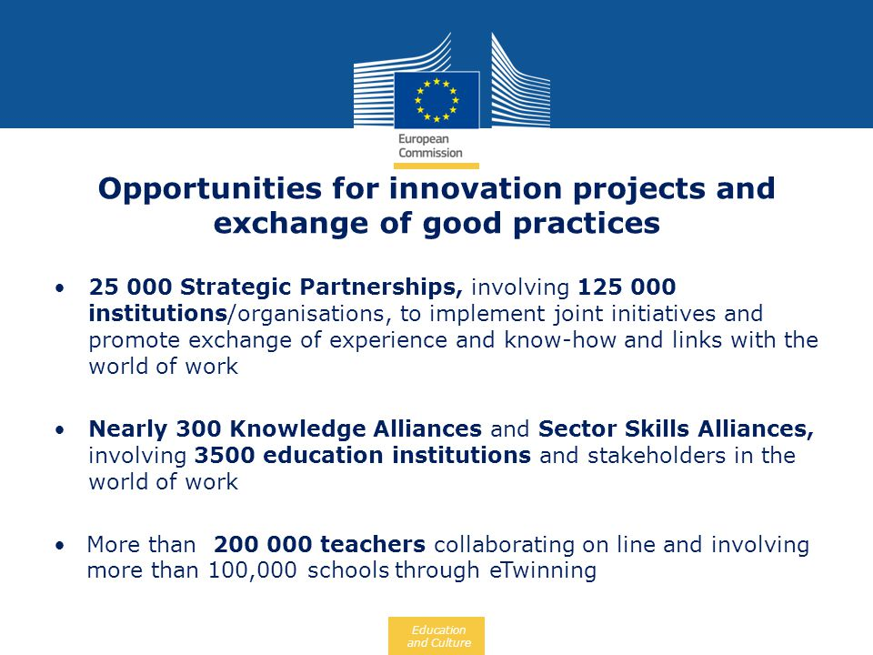 Opportunities for innovation projects and exchange of good practices