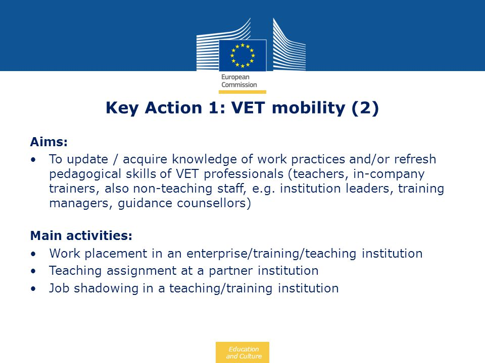 Key Action 1: VET mobility (2)