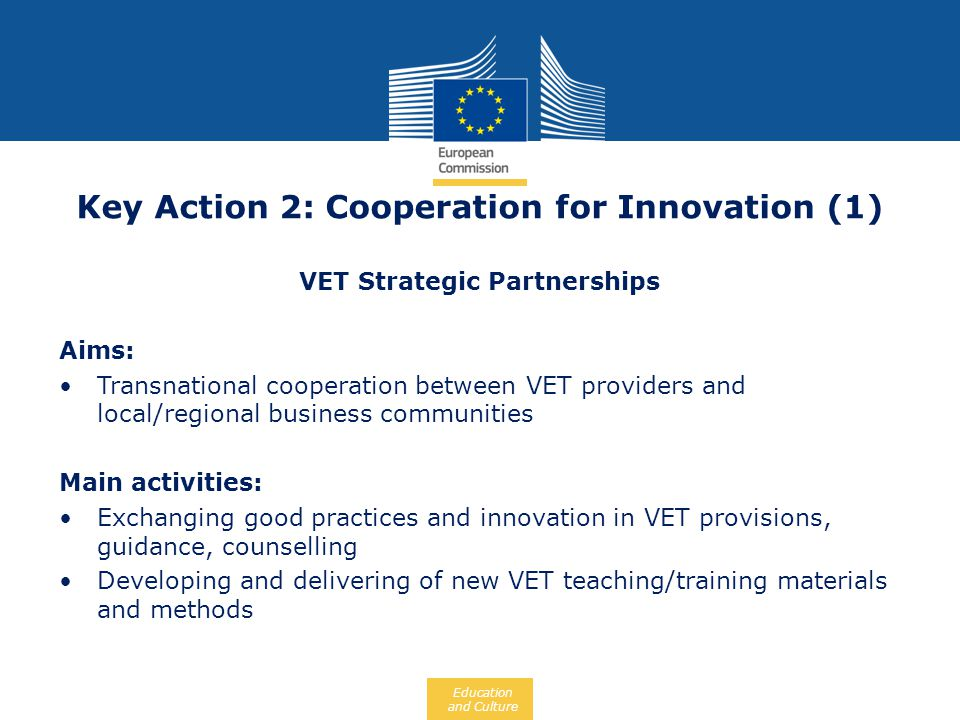 Key Action 2: Cooperation for Innovation (1)