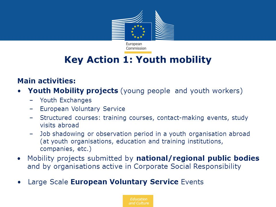 Key Action 1: Youth mobility