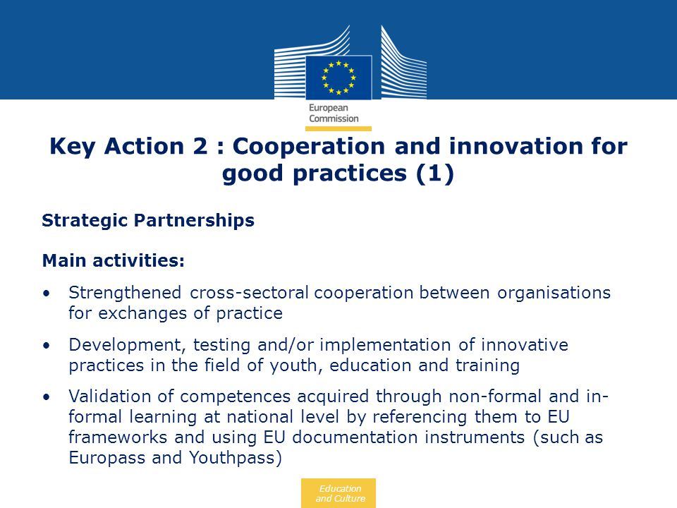 Key Action 2 : Cooperation and innovation for good practices (1)