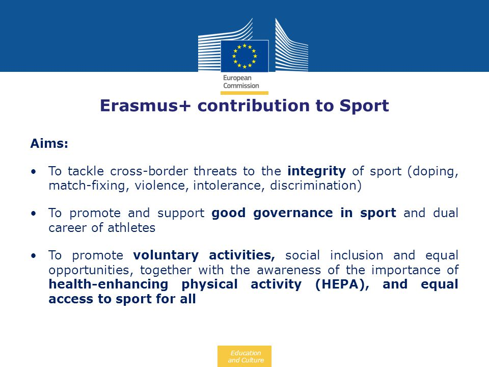Erasmus+ contribution to Sport