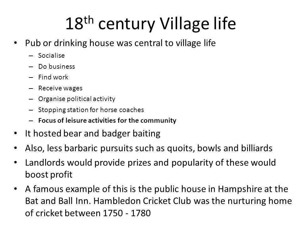 18th century Village life
