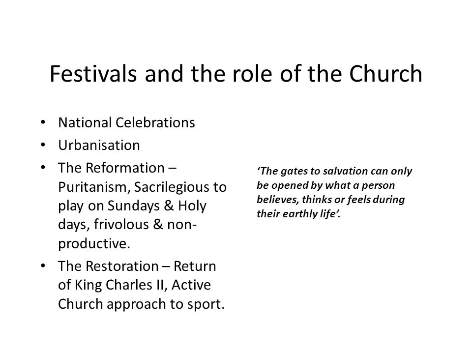 Festivals and the role of the Church
