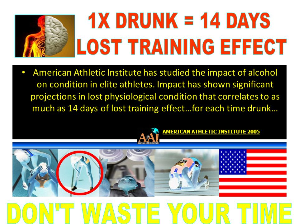 1X DRUNK = 14 DAYS LOST TRAINING EFFECT DON T WASTE YOUR TIME