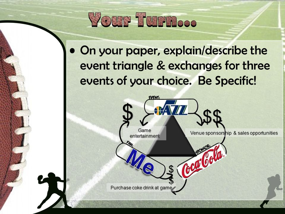 Your Turn… On your paper, explain/describe the event triangle & exchanges for three events of your choice. Be Specific!
