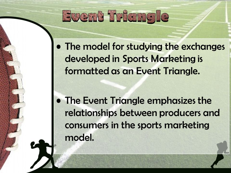 Event Triangle The model for studying the exchanges developed in Sports Marketing is formatted as an Event Triangle.