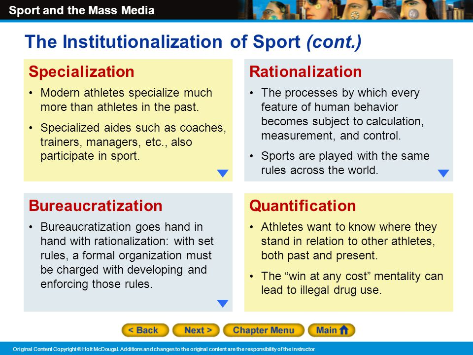 The Institutionalization of Sport (cont.)