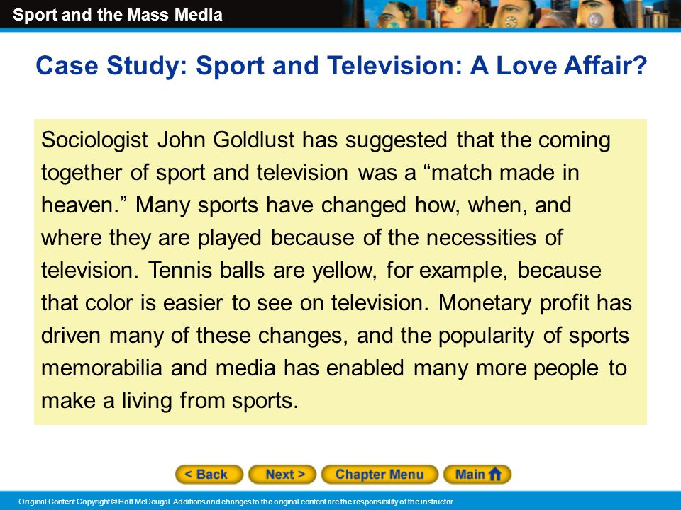 Case Study: Sport and Television: A Love Affair