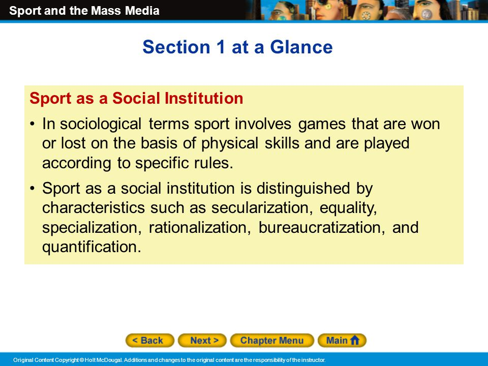 Section 1 at a Glance Sport as a Social Institution