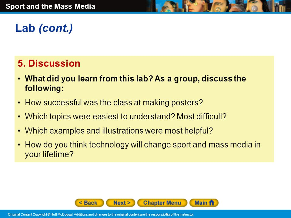 Lab (cont.) 5. Discussion. What did you learn from this lab As a group, discuss the following: How successful was the class at making posters