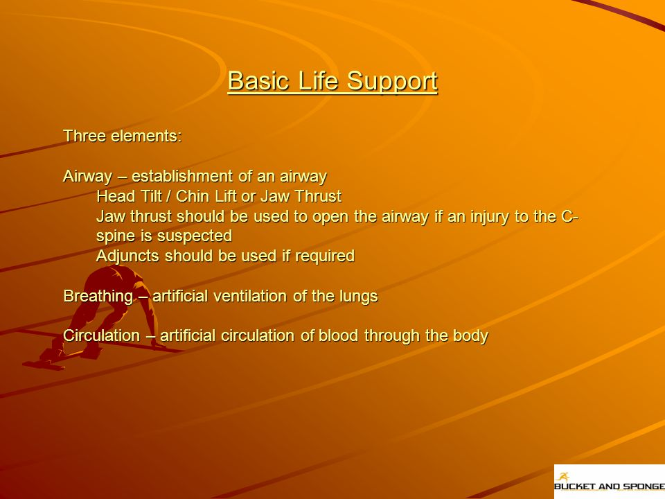 Basic Life Support Three elements: Airway – establishment of an airway