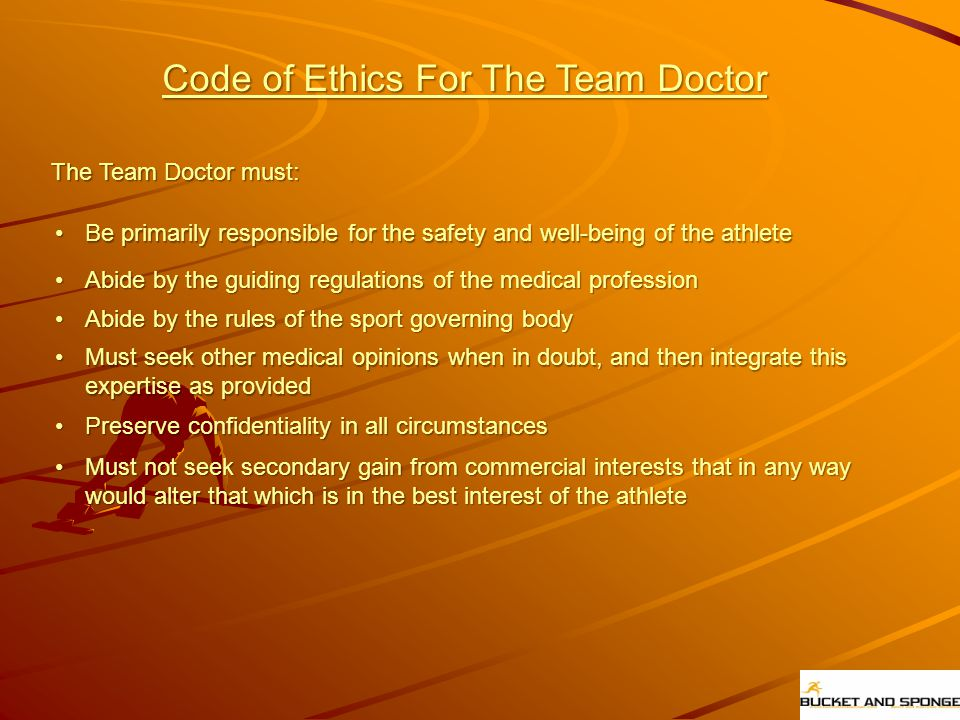 Code of Ethics For The Team Doctor