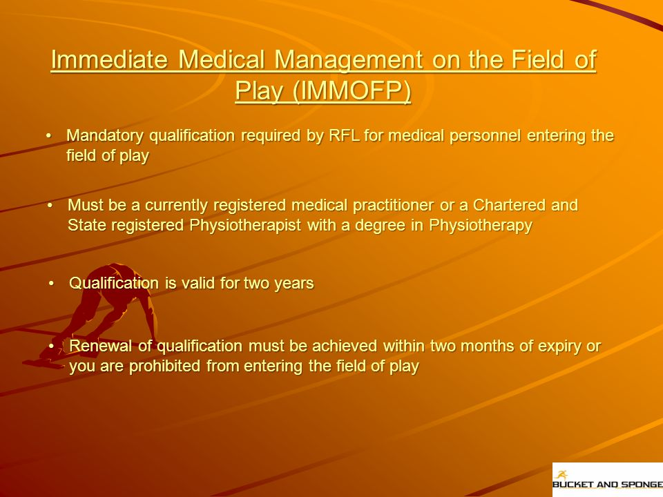 Immediate Medical Management on the Field of Play (IMMOFP)