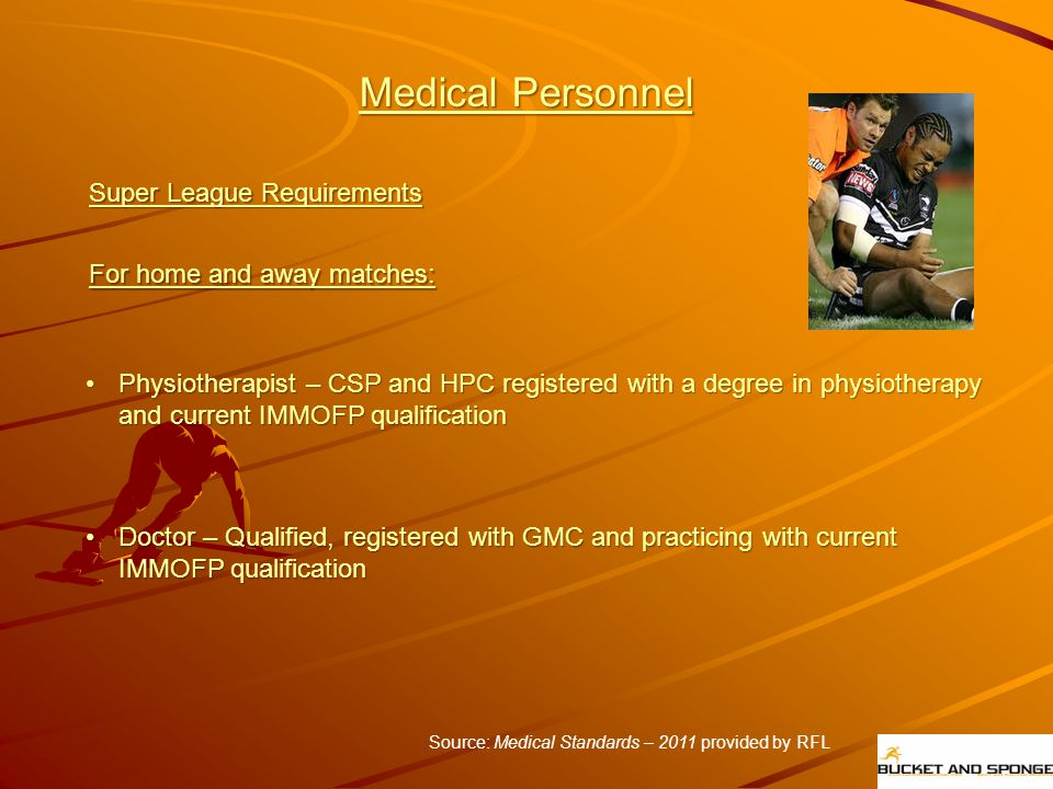 Medical Personnel Super League Requirements For home and away matches: