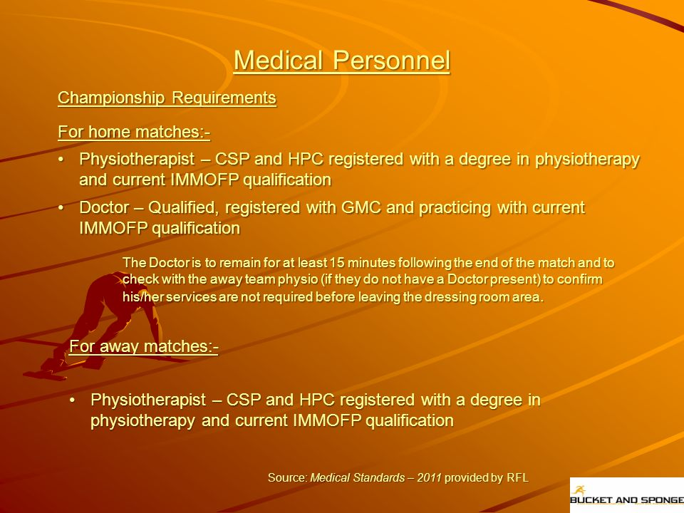 Medical Personnel Championship Requirements For home matches:-