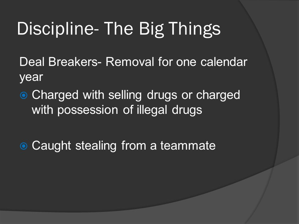 Discipline- The Big Things