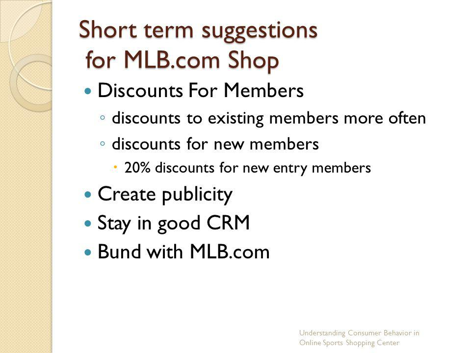 Short term suggestions for MLB.com Shop