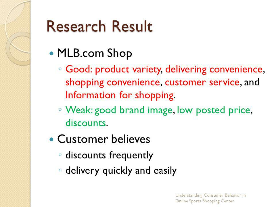 Research Result MLB.com Shop Customer believes