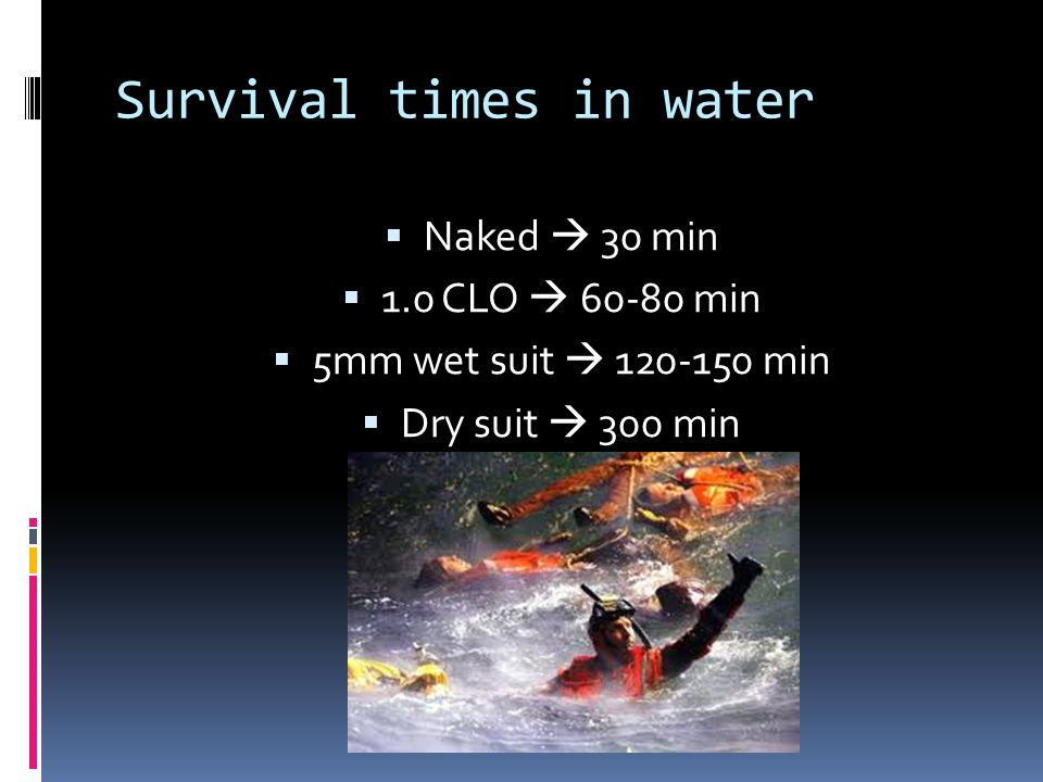 Survival times in water
