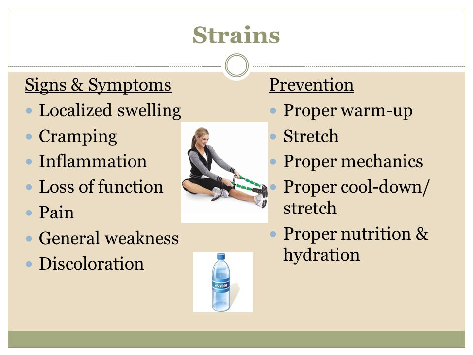 Strains Signs & Symptoms Localized swelling Cramping Inflammation