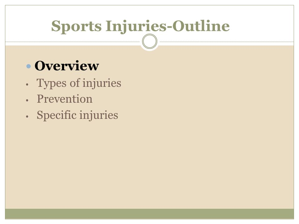 Sports Injuries-Outline
