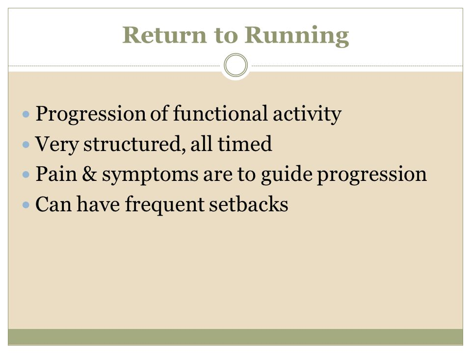 Return to Running Progression of functional activity