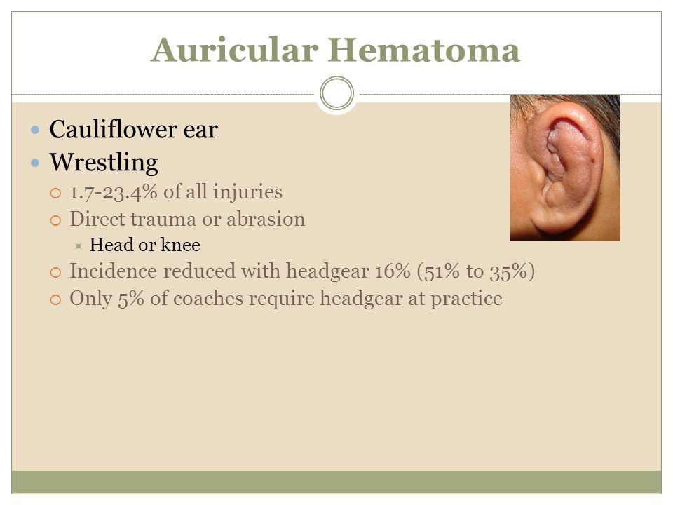 Auricular Hematoma Cauliflower ear Wrestling 1.7-23.4% of all injuries