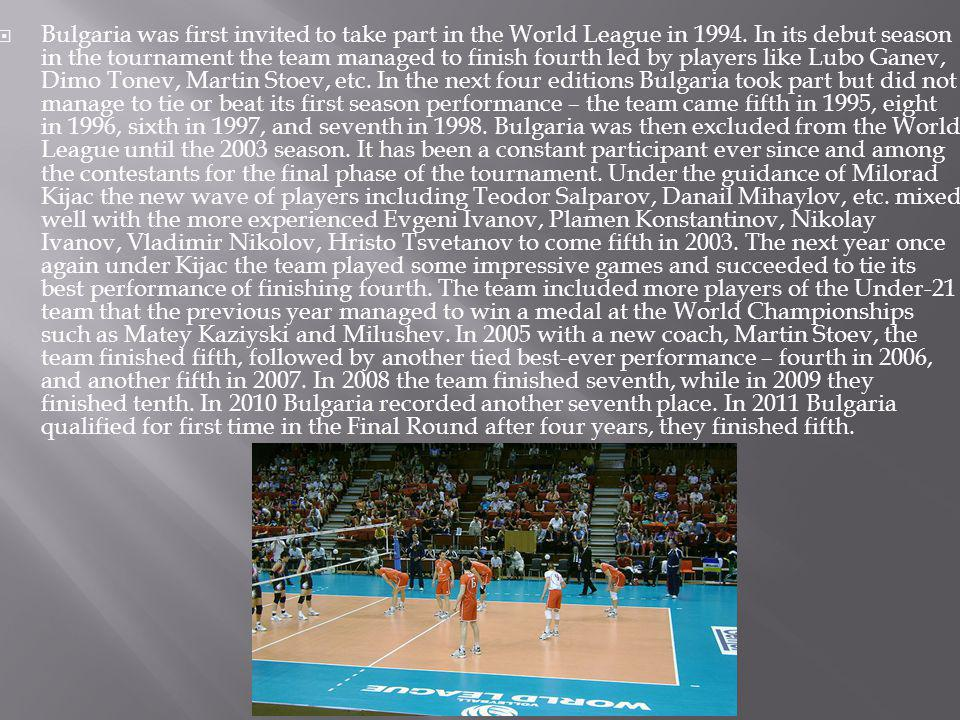 Bulgaria was first invited to take part in the World League in 1994