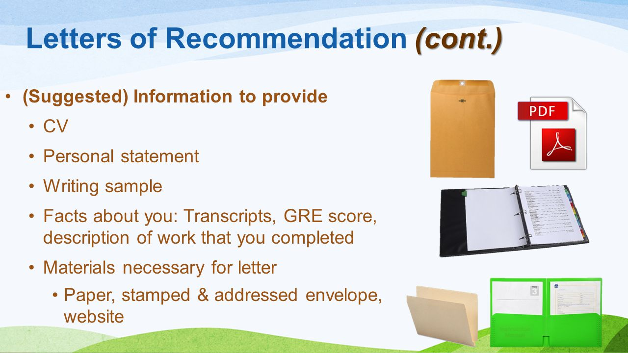 Letters of Recommendation (cont.)