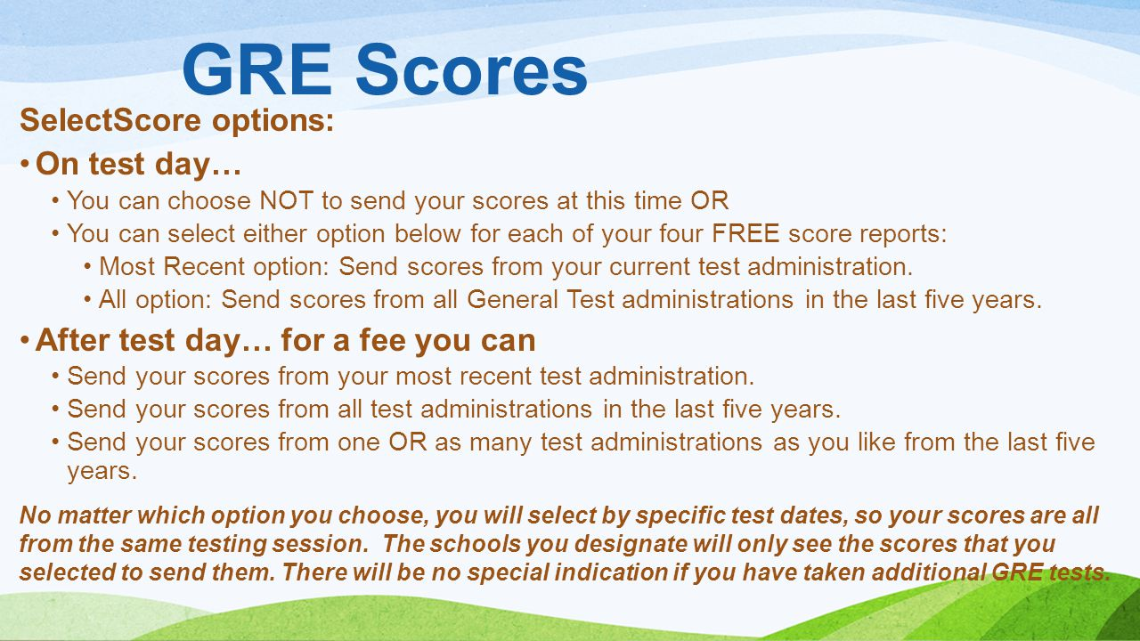 GRE Scores SelectScore options: On test day…
