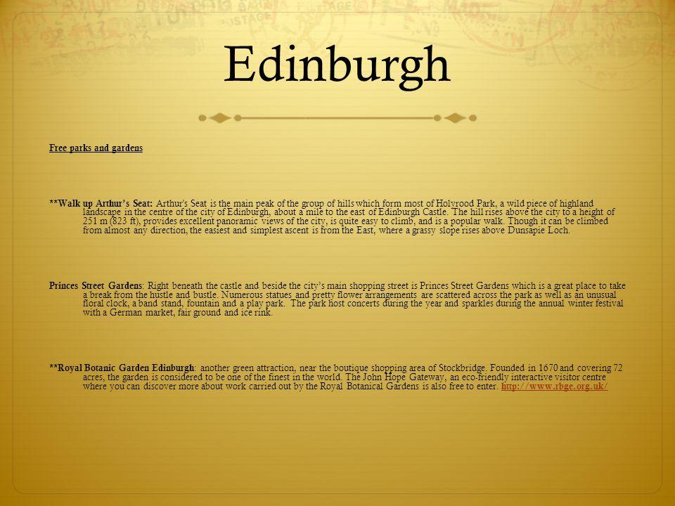 Edinburgh Free parks and gardens