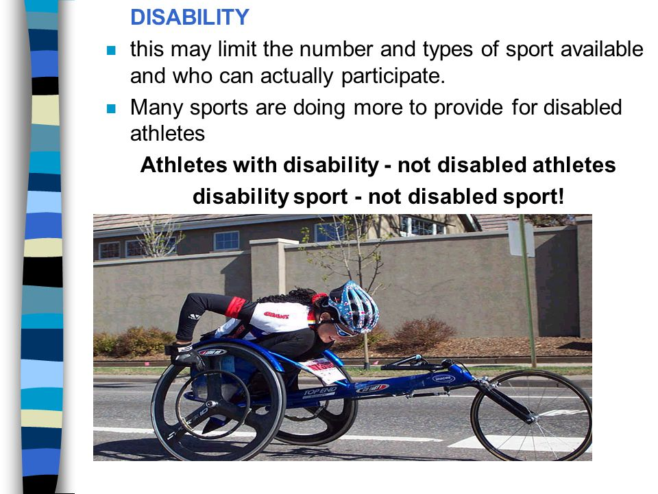 Athletes with disability - not disabled athletes