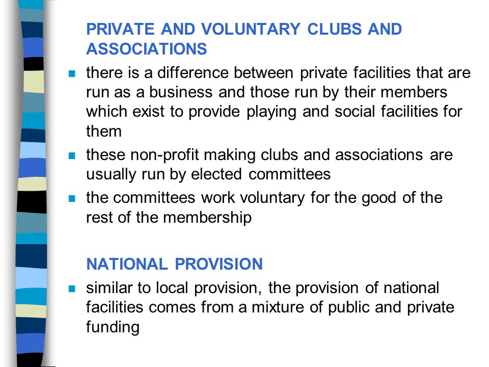 PRIVATE AND VOLUNTARY CLUBS AND ASSOCIATIONS