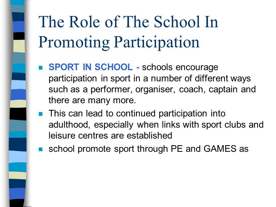 The Role of The School In Promoting Participation