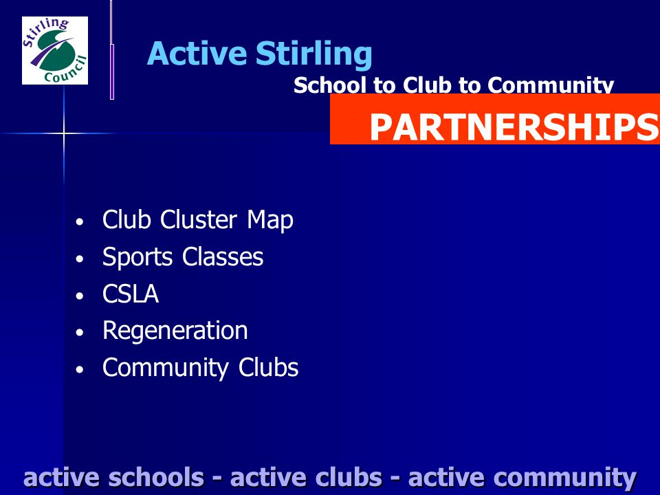 PARTNERSHIPS Active Stirling Club Cluster Map Sports Classes CSLA