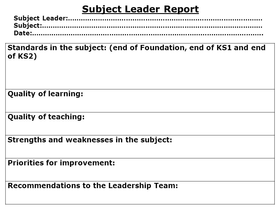 Subject Leader Report Subject Leader:……………………………………………………………………………… Subject:…………………………………………………………………………………………
