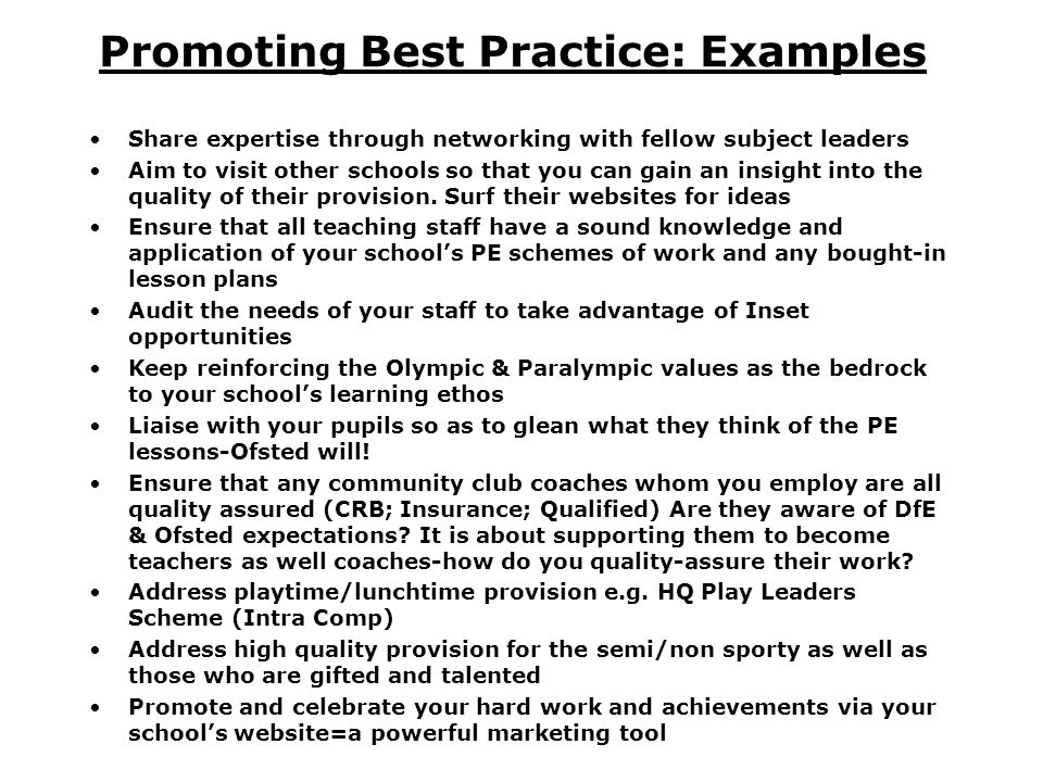 Promoting Best Practice: Examples