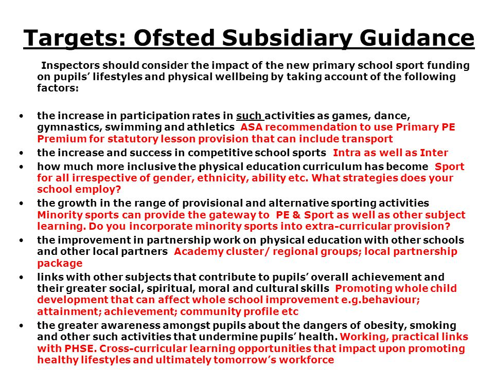 Targets: Ofsted Subsidiary Guidance