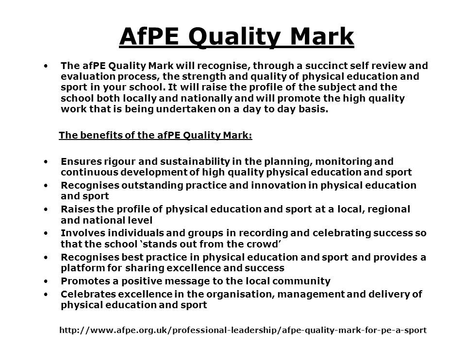 AfPE Quality Mark