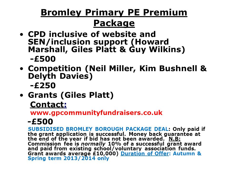 Bromley Primary PE Premium Package
