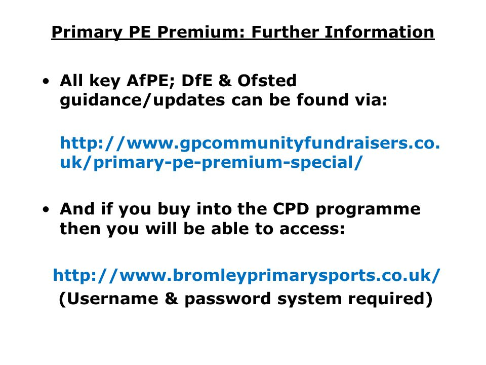 Primary PE Premium: Further Information