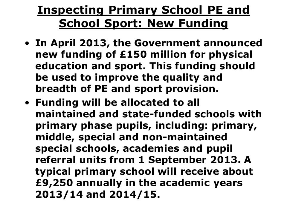 Inspecting Primary School PE and School Sport: New Funding